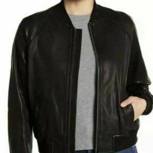 New Vince Black Lamb Leather Bomber Jacket Size L